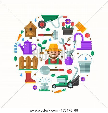 Spring gardening and landscaping icons set in circle. Growing plants elements collection with gardener, grass-cutter, wheelbarrow and other farm and garden tools. Springtime gardening card in flat.