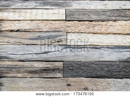 Pattern Of Natural Timber On The Floor- Gray And Brown Weathered Sawed Wood Log With Cracks, Natural