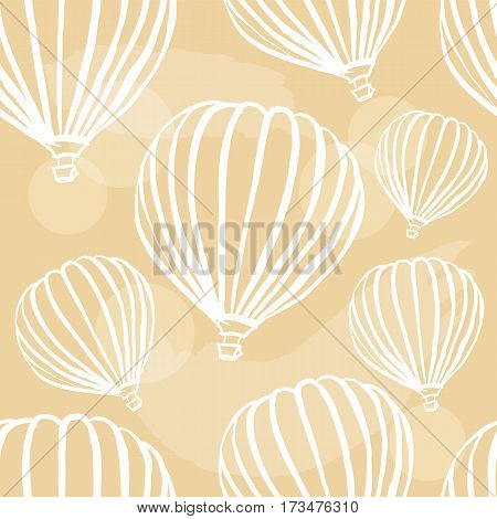 A freehand retro style seamless pattern with hot air balloons. Abstract vector background