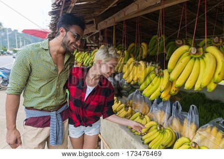 Couple Asian Fruits Street Market Buying Fresh Food, Young Man And Woman Tourists Exotic Vacation Tropical Holiday