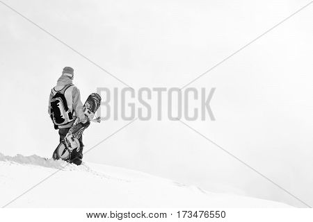 Freeriders on the top of the mountain in Georgia
