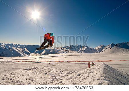 Freerider jumping in the mountain in Georgia