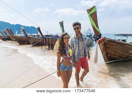 Young Couple Tourist Long Tail Thailand Boat Port Ocean Sea Vacation Travel Trip Tropical Holiday