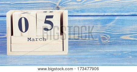 Vintage Photo, March 5Th. Date Of 5 March On Wooden Cube Calendar