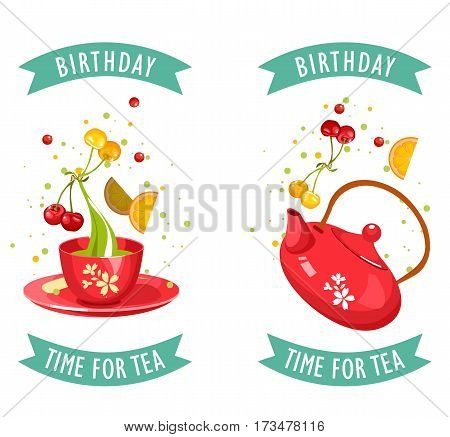 vector illustration of a tea party set of two cards with a cup of tea and perfect for an invitation. business cards flyers