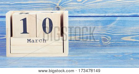 Vintage Photo, March 10Th. Date Of 10 March On Wooden Cube Calendar