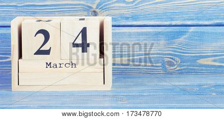 Vintage Photo, March 24Th. Date Of 24 March On Wooden Cube Calendar