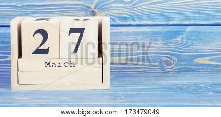Vintage Photo, March 27Th. Date Of 27 March On Wooden Cube Calendar