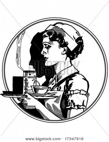 Nurse Icon - Retro Clipart Illustration
