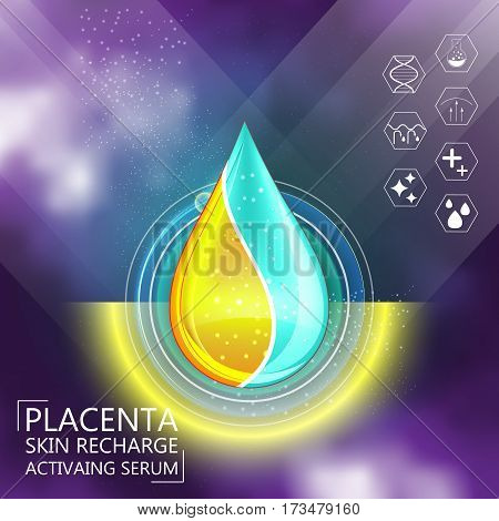 Placenta Hyaluronic Acid Oil Serum Essence 3D Droplet, Skincare Icon, Cosmetics Ads Template