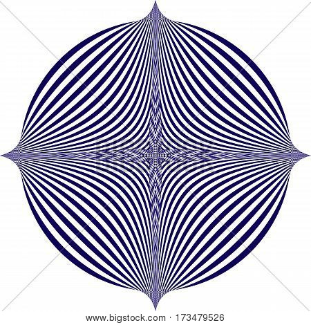 Vector illustration of a blue pattern on a white background creates an optical illusion.