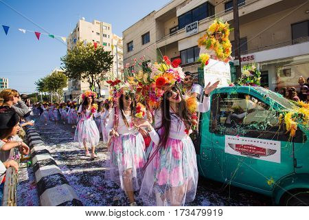 LIMASSOL CYPRUS - FEBRUARY 22: Unidentified Carnival participants march in Cyprus Carnival Parade on FEBRUARY 22 2015 in Limassol Cyprus established in 16th century