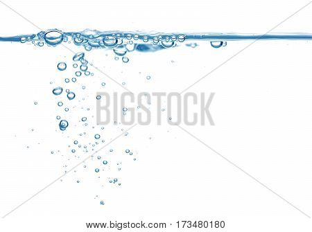 Clean Blue Water And Air Bubbles