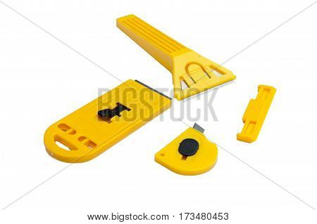Stationery set of knives of various shapes and for various purposes on an isolated background
