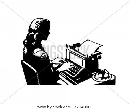 Retro Lady Typist - Clipart Illustration