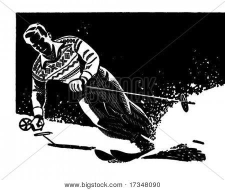Stylish Skier - Retro Clipart Illustration