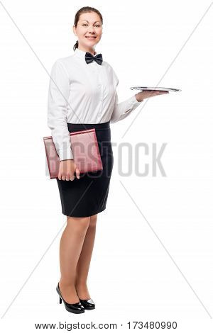 Elegant Waitress With A Tray, And The Menu Is Posing Isolated