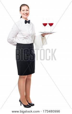 Brunette Woman Working As A Waiter, Holding A Tray Of Glasses Of Wine Isolated In A Studio