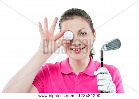 Horizontal Portrait Of Funny Girl Golfer With Equipment For Playing Golf On A White Background