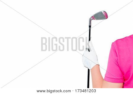 Horizontal Photo Gloved Hand With A Golf Club And A Space On The Left