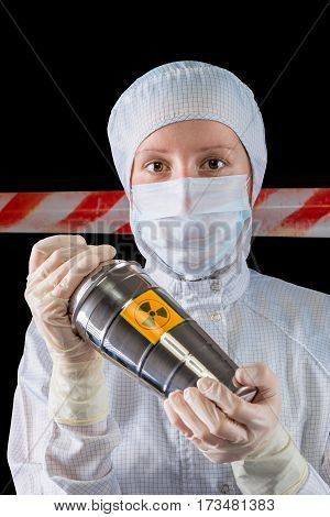 Lab Worker With A Container For The Collection Of Radioactive Substances