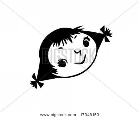 Girl With Pigtails - Retro Clipart Illustration