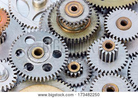 Metal Dirty Gear Cogwheels For Industrial Equipment Closeup