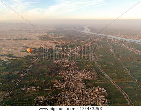 Balloon flight in Luxor, beautiful view to city and Nile river from sky