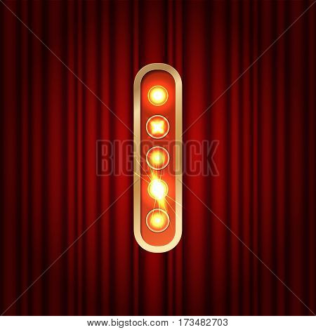 Realistic Retro Gold Lamp Bulb Font Letter I. Part Of Alphabet In Vintage Casino And Slots Style.  V