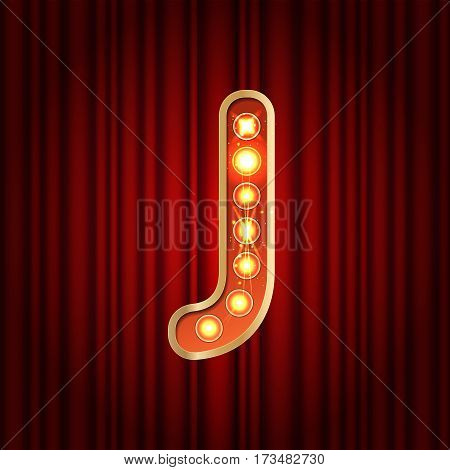 Realistic Retro Gold Lamp Bulb Font Letter J. Part Of Alphabet In Vintage Casino And Slots Style.  V