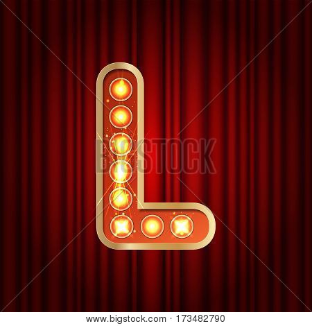 Realistic Retro Gold Lamp Bulb Font Letter L. Part Of Alphabet In Vintage Casino And Slots Style.  V