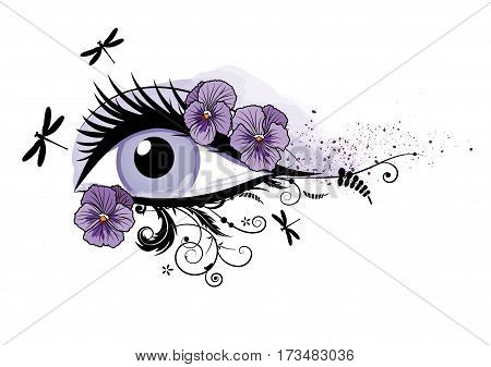 vector illustration of beautiful eye pansy and dragonflies EPS 10