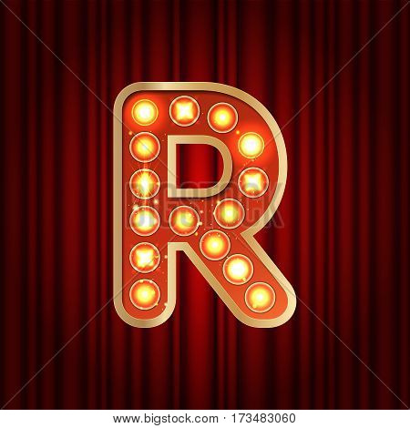 Realistic Retro Gold Lamp Bulb Font Letter R. Part Of Alphabet In Vintage Casino And Slots Style.  V