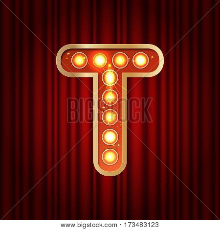 Realistic Retro Gold Lamp Bulb Font Letter T. Part Of Alphabet In Vintage Casino And Slots Style.  V