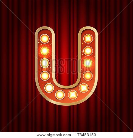 Realistic Retro Gold Lamp Bulb Font Letter U. Part Of Alphabet In Vintage Casino And Slots Style.  V