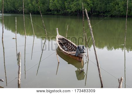 Long tail Boat at Ranong estuary, Thailand