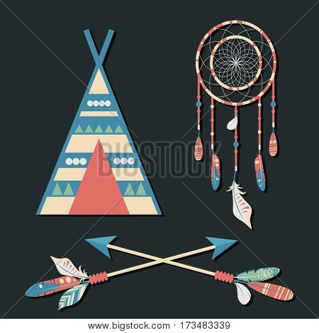 Vector dream catcher with colorful feathers wigwam and crossed arrows on dark background. Elegant tender design for card website wrapping background. Ethnic boho elements of nature