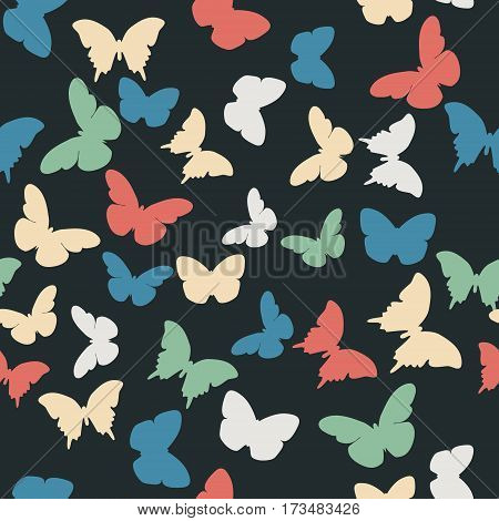 Vector seamless pattern with random blue green creamy butterflies on black background. Vintage elegant child baby design for wrapping textile fabric invitation greeting wedding cards websites