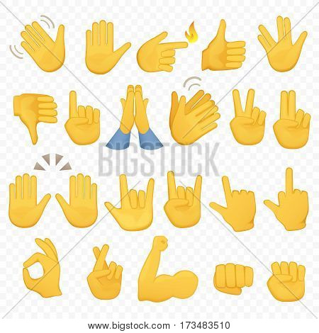 Set of hands icons and symbols. Emoji hand icons. Different gestures, hands, signals and signs, alpha background vector illustration