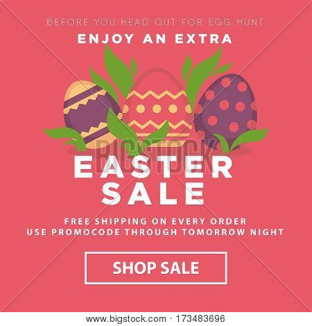Easter sale conceptual banner. Nest with decorated eggs and green leaves. Enjoy extra shop sale. Promocode design for egg hunter. Poster design for advertisement, add your text, vector illustration