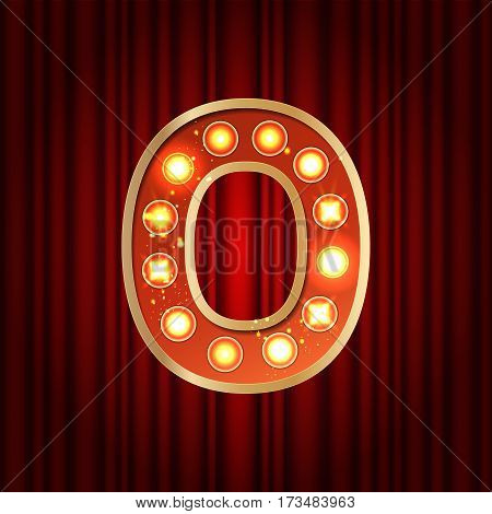 Realistic Retro Gold Lamp Bulb Number 0. Part Of Alphabet In Vintage Casino And Slots Style.  Vector