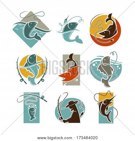 Fishing concept vector poster on white. Set of badges of pike or perch or crucian fish caught on fishing rod and other tackles, man silhouette holding fish-rod and is going to angle