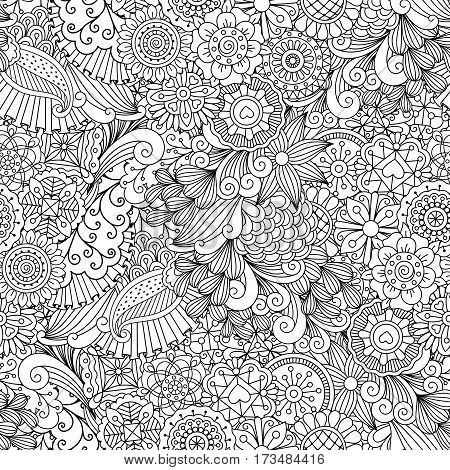 Sketchy doodles decorative floral outline ornamental vector pattern