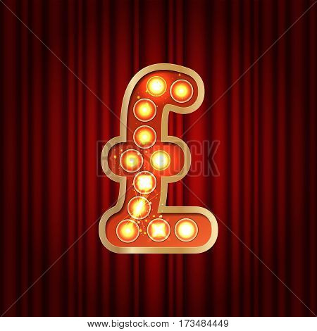 Realistic Retro Gold Lamp Bulb Font Money Symbol Pound. Part Of Alphabet In Vintage Casino And Slots