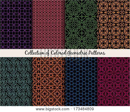Set of colored mandala style ethnic patterns. ector illustration