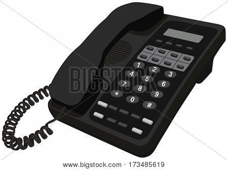 Telephone home office desk phone object modern communication style with caller ip for business design concept with wire connectivity