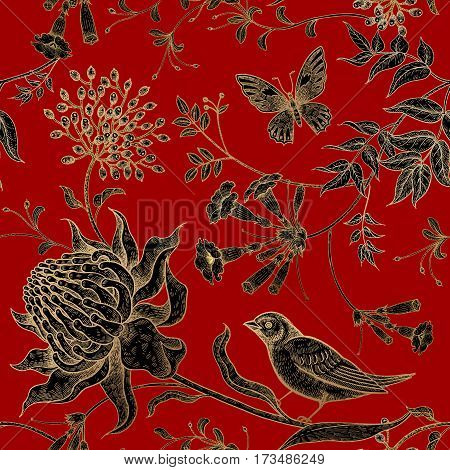 Exotic flowers birds and butterflies. Seamless vector floral pattern style vintage luxury fabrics. Unusual art illustration for paper curtains clothing case phone cover. Black red and gold foil.
