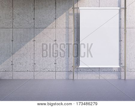 3d rendering blank white vertical billboard with grey wall
