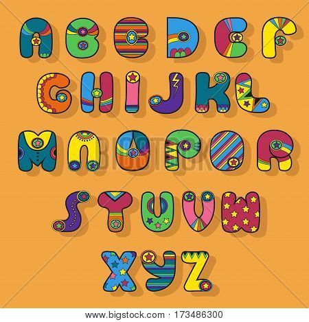 Colorful Alphabet. Superhero style. Cartoon letters with bright decor elements. Vector illustration