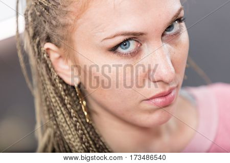 Woman On Dreadlocks Intense Look
